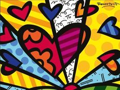 These amazingly colorful Romero Britto Art Projects for Kids are sure to brighten up your day! Check out art work, sculptures, collages and more! Arte Pop, Square 1 Art, Valentines Art, Heart Painting, Tile Art, Wall Tile, Heart Art, Art Plastique, Elementary Art