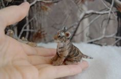 OOAK Realistic Handmade ~ Tiger Cub ~ Miniature Dollhouse 1:12 Sculpture by Reve