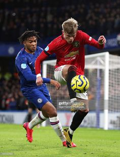 Chelsea's Reece James and Manchester United's Brandon Williams battle for the ball during the Premier League match at Stamford Bridge, London. Get premium, high resolution news photos at Getty Images Chelsea Fc, Brandon Williams, Manchester United Wallpaper, England Players, Chelsea Football, Stamford Bridge, Premier League Matches, Soccer Players