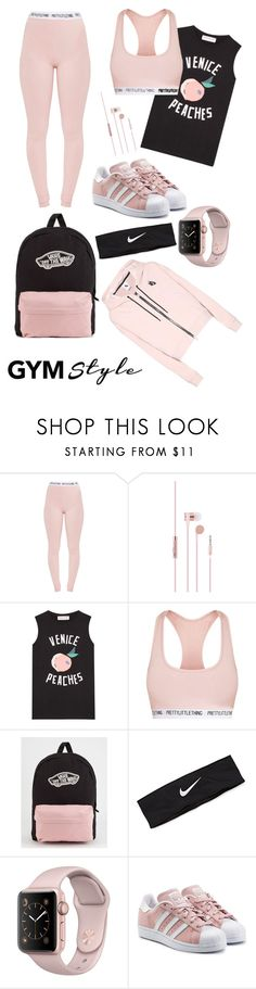 """Gymwear"" by fentymelike ❤ liked on Polyvore featuring Pretty Little Thing, Être Cécile, Vans, NIKE and adidas Originals"