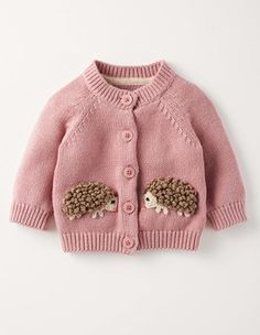And in a sweater. Heart melts.  Vintage Pink Hedgehog Fun Cardigan Boden