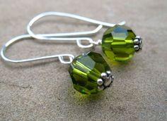 Green Earrings Sterling Silver Jewelry Olive Green Crystal Earrings Minimalist on Etsy, $17.00