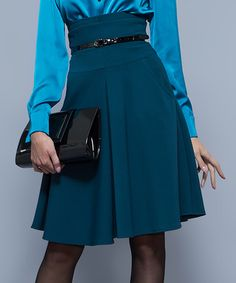 Loving this Turquoise High-Waisted Skirt on #zulily! #zulilyfinds