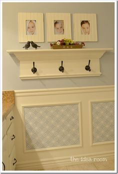 """From the website: """"It is a white vinyl decorative decal that I got from my friend Shelley from House of Smith's, who also has a fun shop, House of Smith's Designs, in which she sells a lot of her great home décor items. We were able to take the measurements of my wall boxes and was able to design them to fit into my space. We came up with a fun design that I knew would be perfect for my room."""""""