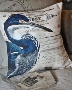 Pillow Cover the Blue Heron Audubon cotton and by JolieMarche, $35.00