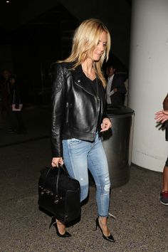 Heidi Klum Leather Jacket - Heidi Klum was rocker-chic at LAX in a black Versace leather jacket with quilted shoulders.