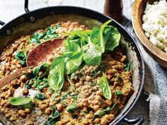 A healthy vegetarian Indian food recipe from nutritionist Madeleine Shaw's new book Get The Glow: Chickpea And Lentil Dhal With Coconut Cauliflower Rice.