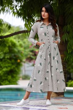 Checked Midi Button Down Shirt Dress with Flower pot design