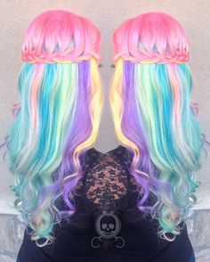 Cotton candy hair color is best worn in boho braids. Go for an ultra-feminine hairstyle by weaving a French braided half-updo that displays every single fluorescent shade perfectly. Pastel Ombre, Pastel Rainbow Hair, Dyed Hair Pastel, Rose Pastel, Colorful Hair, Multicolored Hair, Pretty Pastel, Pastel Colors, Weave Hairstyles