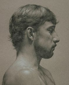 Oscar Mendoza (profile)  2005, Graphite and white pastel on tinted paper, 18x14 by: Tony J. Ryder