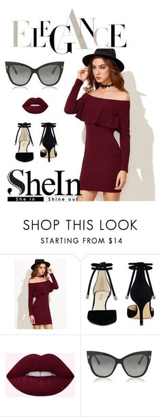"""shein burgundy dress"" by katarinaf ❤ liked on Polyvore featuring Nine West, Tom Ford, Elegant, burgundy and shein"