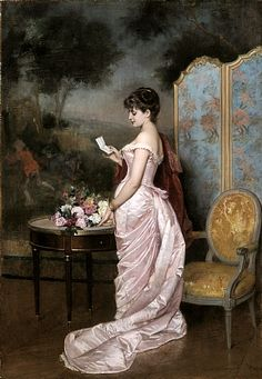 Auguste Toulmouche (French, 1829–1890) : The Letter (signed : 63x44 cm)