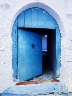 Blue Painted Doorway With Wooden Door, Chefchaouen, Morocco, North Africa, Africa Photographic Print by Guy Edwardes at Art.com