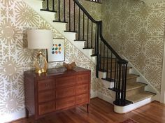 The finished foyer is fun yet sophisticated