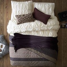 Who wants to get in bed with me???  I love the Layered Bed Looks - Cozy Cottage on westelm.com