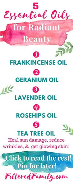 These essential oils are amazing for natural beauty! They can reduce wrinkles and even fix that sun damage. Check the out! -- Infographic - 5 Amazing Essential Oils for Radiant Beauty | via http://FilteredFamily.com
