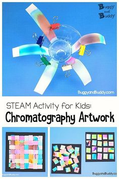 STEM / STEAM for Kids: Explore chromatography (the separation of colors) and turn the results into artwork. Includes variations for kids of all ages! Preschool Science Activities, Steam Activities, Science Experiments Kids, Science For Kids, Science Projects, Projects For Kids, Learning Activities, Montessori Science, Science Geek