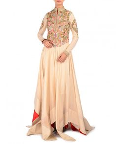 Ivory Asymmetric Dress with Multicolor Floral Embroidery - Samant Chauhan - Designers