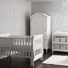 Elegant white and grey nursery – The White Company - love that armoire!