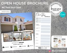 Real Estate Open House Brochure w/ Tear Out Card, Real Estate Template, Real Estate Printable, Editable in Canva #Realtor #OpenHouse #RealEstateTrifold #TearOutCard #RealEstateBrochure #MarketingMaterials #RealEstateTemplate #ReadyToPrint #Buyers #HomeSelling Open House Brochure, Real Estate Templates, Marketing Materials, Real Estate Marketing, Design Elements, Cards, Printable, Etsy, Elements Of Design
