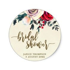 winter floral bridal shower sticker favors - christmas craft supplies cyo merry xmas santa claus family holidays
