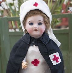 Antique Original French Nursing Red Cross Uniform for Bleuette doll, 1914.
