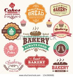 Collection of vintage retro bakery logo badges and labels by Catherinecml, via Shutterstock