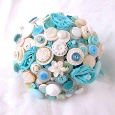 Love....Tiffany Blue Button Bridal bouquet Button by AngelasArtistic, $225.00 #buttonbouquet #tiffanyblue