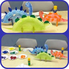 Dinosaurs! Pre-cut the scales out of the plates, let the kids color or paint dot them, then just add premade heads & have the adults put the clothes pins on!