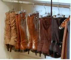 DIY- Storage space running low?! Dave closet space by hanging your boots with pants hangers!!