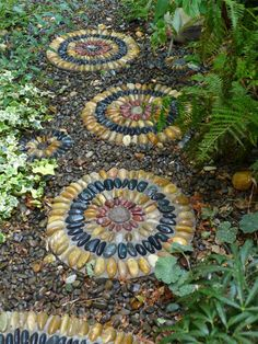 Gardens by Jeffrey Bale Pebble Mosaic Stepping Stones