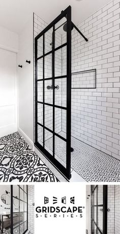 Gridscape Fixed Shower Screen Panel in Black with Clear Glass Coastal Gridscape Splash Panel Glass Divider with Black Factory Window Frame Shower Remodel, Bath Remodel, Bathroom Renos, Small Bathroom, Bathroom Showers, Bathroom Black, Bathroom Mirrors, Glass Bathroom, Master Bathrooms