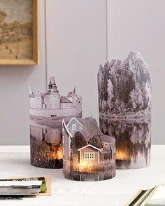 Foto's geprint op melkglaspapier rond waxinelichtjes. Via Buitenleven magazine (Dutch).