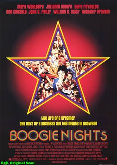 """Boogie Nights ~~~  """"When I close my eyes, I see this thing, a sign, I see this name in bright blue neon lights with a purple outline. And this name is so bright and so sharp that the sign - it just blows up because the name is so powerful... It says, 'Dirk Diggler.'"""""""