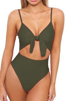 Shop a great selection of LEISUP Womens Spaghetti Strap Tie Knot Front Cutout High Cut One Piece Swimsuit. Find new offer and Similar products for LEISUP Womens Spaghetti Strap Tie Knot Front Cutout High Cut One Piece Swimsuit. Cheeky Swimsuits, Best Swimsuits, Women's One Piece Swimsuits, Monokini Swimsuits, Women Swimsuits, Cheeky One Piece Swimsuit, Bikini Shop, The Bikini, Scrunch Bikini