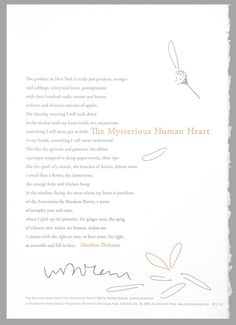 "One last pin celebrating our Dickmania Curated Collection. Poem by Matthew Dickman. Letterpress broadside, ""The Mysterious Human Heart"" by Cathy DeForest and Derek Pyle, the mother and son team behind Jubilation Press in Ashland, Oregon."