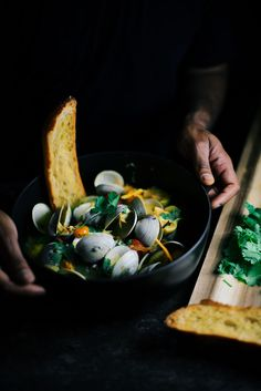clam broth with ginger and turmeric root | A Brown Table