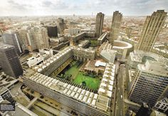 The Barbican estates and Center. It might be made from Brutalist architecture, but there is so much gorgeous and serene landscape within its walls. I am glad I found an aerial photo to capture it all.