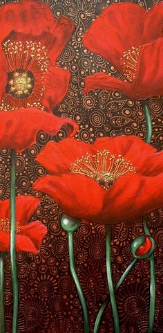 Dancing Red Poppies  ~ Cherie Dirksen, South African artist. It's beautiful, I 'specially like how after you've been admiring it for a minute, you find the lovely patterns in the background :)