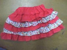 falda para niña con pretina con caucho y golas fruncidas en dos tonalidades