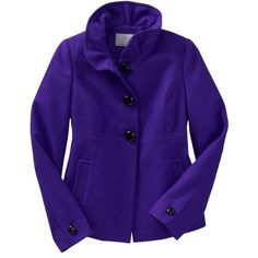 Old Navy Womens Ruffle-Collar Wool-Blend Jacket ($62) ❤ liked on Polyvore
