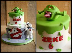 Ghostbusters themed Cake for my son! - iced by kez #ghostbusterscake #ghostbusters #slimer #staypuft #iaintafraidofnoghost
