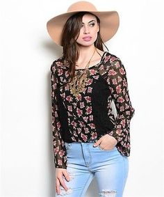 NEW! SHOP THE TRENDS Black FLORAL Peasant BOHEMIAN Blouse  Large / Bust to 36"