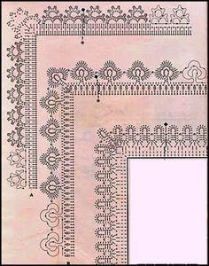 PATRONES - CROCHET - GANCHILLO - GRAFICOS: GRAFCOS DE PUNTILLAS AL CROCHET= PATRONES A GANCHILLO=TODO GRATIS