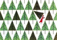 MID CENTURY MODERN DESIGN, Christmas Card designed by Charley Harper for The... in Illustration