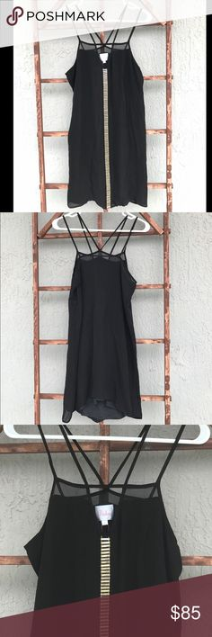Parker - Little Black Dress - Size S - New Parker - Little Black Dress - Size S - New; Simple & Cute with double skinny straps and gold embellishment down the middle front to add a little sparkle ✨ Parker Dresses Mini