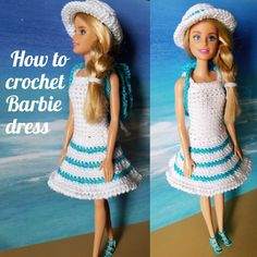 Barbie dress - HandmadebyRaine - - Let's crochet new summer outfit for Barbie. Summer is right around the corner and Barbie would like to refresh her wardrobe with…. Crochet Barbie Patterns, Crochet Doll Dress, Barbie Clothes Patterns, Crochet Barbie Clothes, Dress Sewing Patterns, Crochet Tunic, Crochet Dresses, Crochet Tops, Doll Patterns