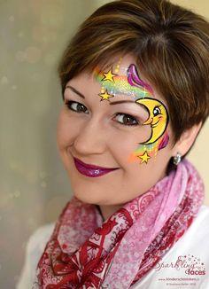 Moon and stars rainbow Eye Face Painting, Adult Face Painting, Belly Painting, Face Painting Designs, Face Art, Batman Face Paint, Face Paint Party, Rainbow Face Paint, Christmas Face Painting