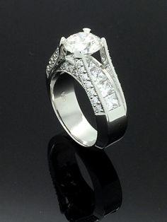14k wg Diamond Engagement Ring by LaRocheJewelryDesign on Etsy