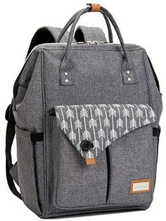 Lekebaby Changing Backpack Nappy Bag Mat Baby Grey And Mom Arrow Print Unisex Da Baby Diper Bags, Baby Nappy Bags, Cute Diaper Bags, Large Diaper Bags, Diaper Bags For Boys, Baby Rucksack, Laptop Rucksack, Laptop Bag, Best Backpack Diaper Bag